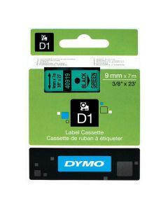 Tape DYMO D1 9mm svart på grön