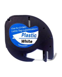 Tape LetraTAG Plast 12mm Svart på Vit