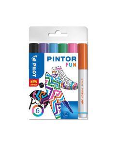 Märkpenna PILOT Pintor F 6 färg Fun Mix