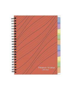 Anteckningsbok A5 70g 200 blad med 10 avdelare