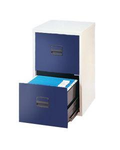 Hängmappsskåp 2 lådor ljusgrå/blå