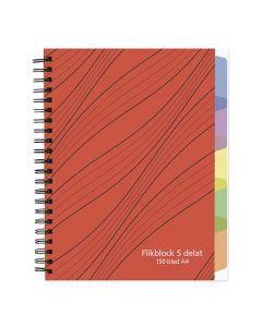 Anteckningsbok A4 70g 150 blad med 5 avdelare