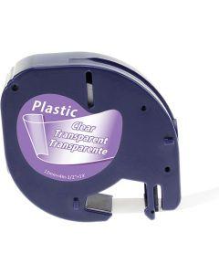 Tape LetraTAG Plast 12mm Svart på Transp