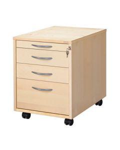 Skrivbordshurts 4 lådor björklaminat
