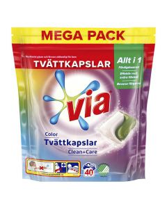 Tvättkapslar VIA Duo Color 40/FP