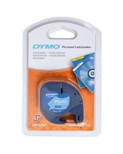 Tape LetraTAG plast 12mm svart på blå