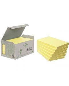 Notes POST-IT 100% recyc 127x76mm gul 6/FP