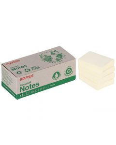 Notes STAPLES Recy 38x51mm gul 12/FP