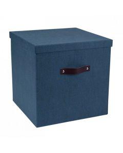 Förvaringsbox m.lock kartong stor blå