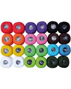 Virkgarn 12 färger x2 20gr