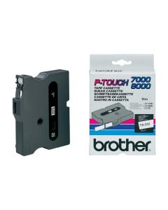 Tape BROTHER TX231 12mm svart på vit