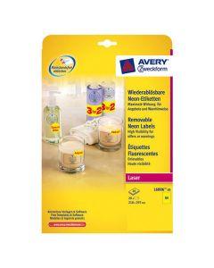 Etikett AVERY Neon gul 210x297mm 20/FP