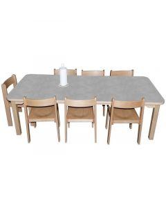 Linoleumbord 80x140 cm höjd 58 cm lj.grå
