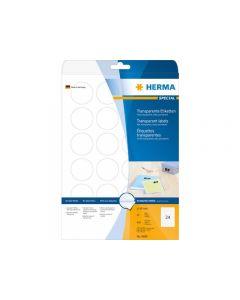 Etikett HERMA Transp Ø40mm 600/FP