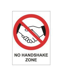 Skylt No Handshake Zone A4 Plast