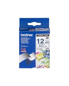 Tape BROTHER TZe-FA3 12mm Blå på Vit