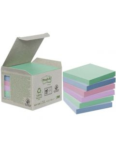 Notes POST-IT 100% recyc 76x76mm pastell 6/FP