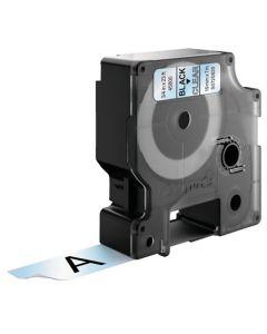 Tape D1 19mm Svart på Klar